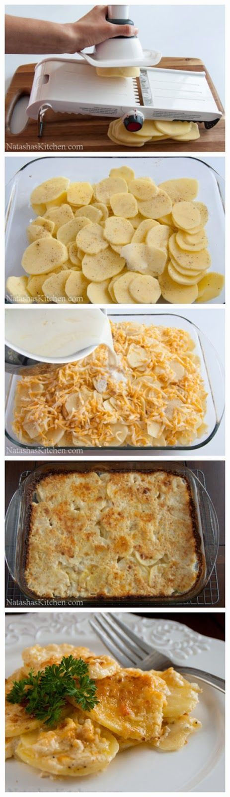 Ingredients:   3 lbs Yukon Gold Potatoes, peeled  ½ yellow onion  4-6 garlic cloves  1 tsp salt  1 tsp black pepper  3 cups shredded ched...