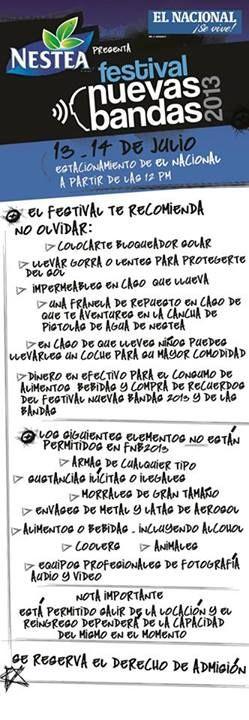 Cresta Metálica Producciones » Normativas del Festival @NuevasBandas 2013: 13 y 14 de julio en el @Diario El Nacional @EBGpro @CiComunica