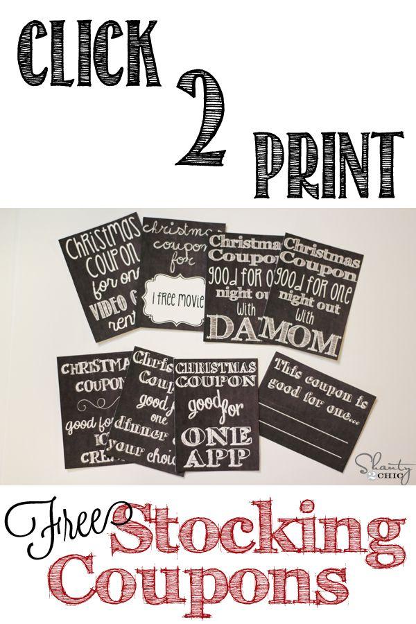Free Printable Stocking Stuffer Coupons!  Too cute!