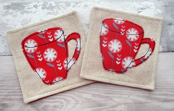 SALE Set Of 2 Coasters Fabric Coasters Red by TheCornishCoasterCo