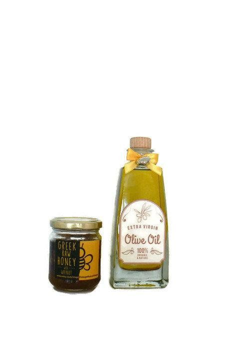 #Extra Virgin Olive Oil and Honey Gift Set | #Greek Raw Thyme Honey | Gourmet Foodie Gift | Design Olive oil Bottle | Chefs gift | Cooking oil