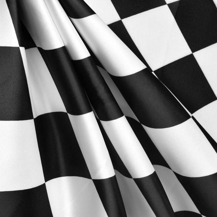 White/Black Harlequin Matte Satin Fabric - Image 2