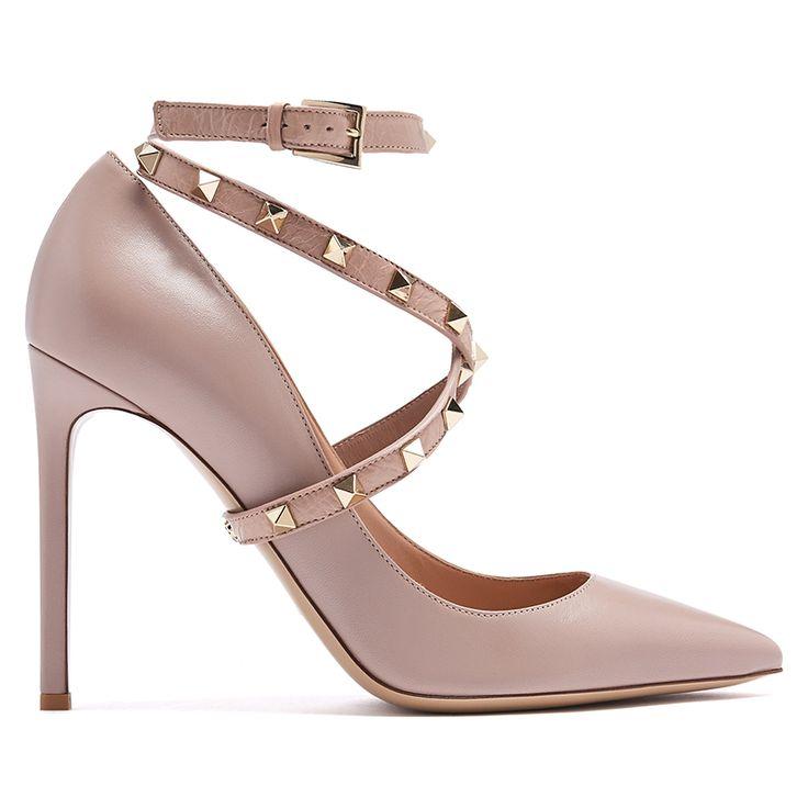 VALENTINO Studwrap leather pumps Nude
