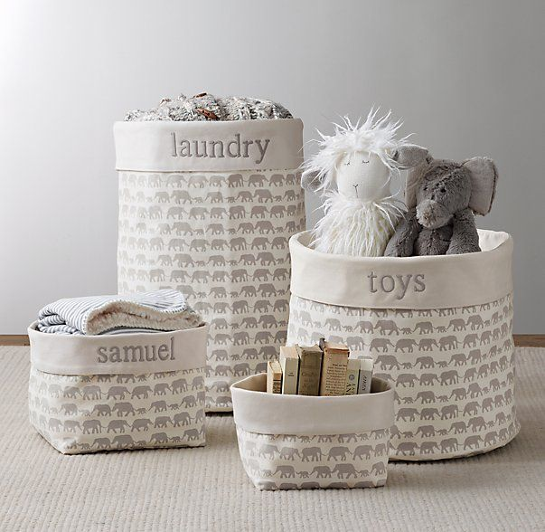 Nursery Canvas Storage - Grey Elephant