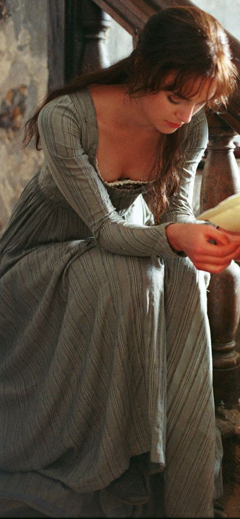 "Keira Knightley as Elizabeth Bennet, Pride & Prejudice (2005) BAFTA's Award winning costume designer Jacqueline Durran focused on later eighteenth century fashions that often included a corseted, natural waistline rather than an empire silhouette (which became popular after the 1790s). The older characters dress in mid-eighteenth century fashions while the young wear ""a sort of proto-Regency style of hair and dress"""