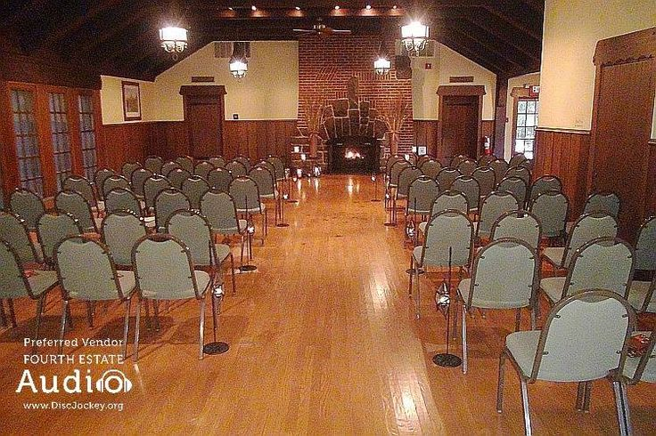 The second floor of Katherine Legge Lodge, all dressed up for Saralyn and Erik's wedding. http://www.discjockey.org/real-chicago-wedding-oct-3-2015/