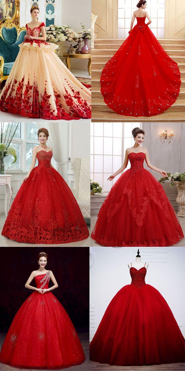 Red charming wedding dresses