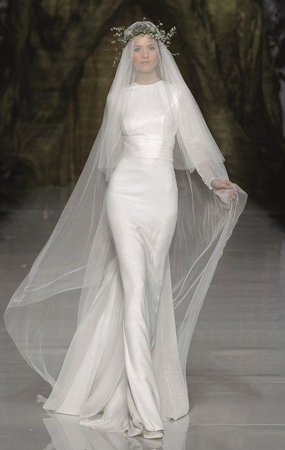 This Pronovias gown reminds me of an update on Julie Andrews' wedding gown from The Sound of Music, which is so iconic for me.