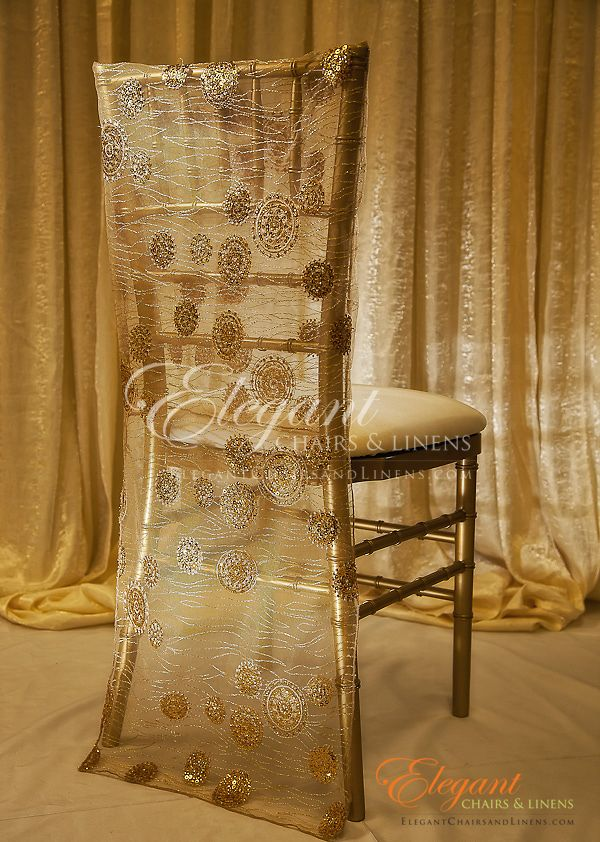 Chiavari Chair Cover Gold Round Sequin