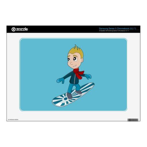 Snowboarding boy cartoon Samsung skin Samsung Chromebook Decal