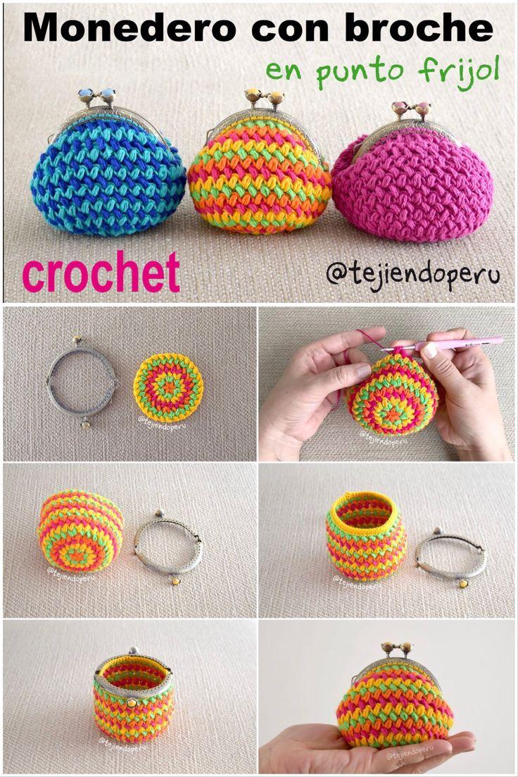 Paso a paso: monederos de colores tejidos a #crochet en punto frijol! Crochet coin purse!