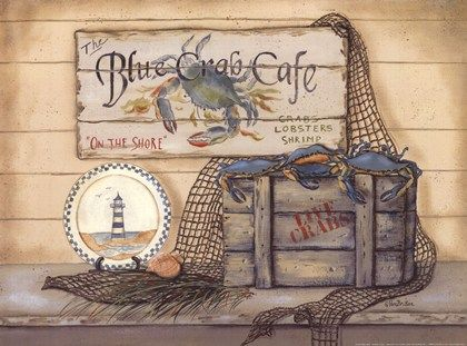 Blue Crab Caf? by Pam Britton art print