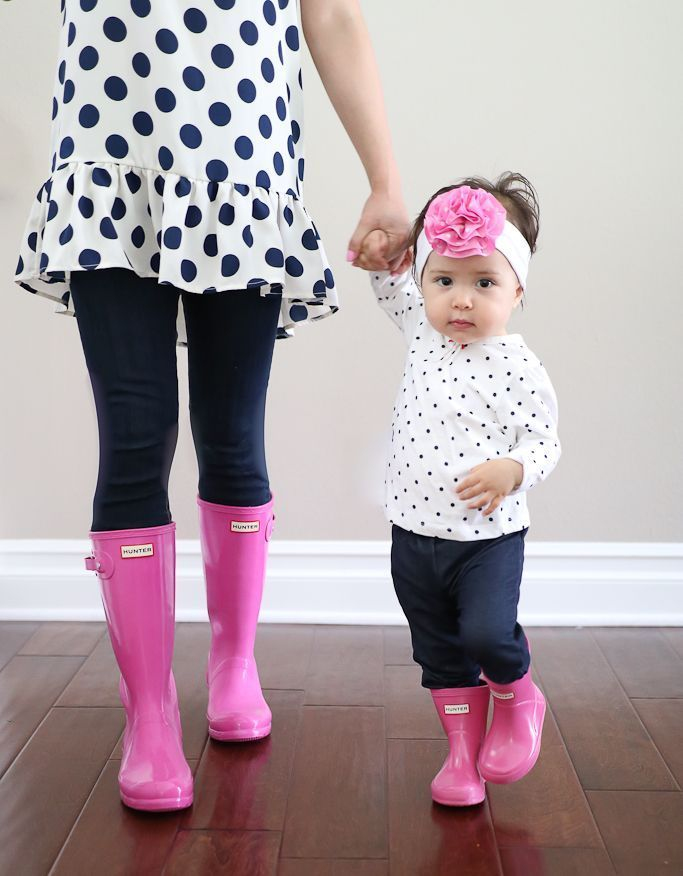 Mommy and Me outfits, Stylish Petite, flamingo print dresses, baby pink turban, Freshly Picked dalmation moccasins, mommy and daughter matching outfits, pink hunter boots, baby hunter boots, lipstick pink hunter boots, petite hunter boots - click the photo for outfit details!