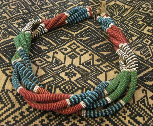 African Beaded and Leather Cord Necklace by EyesVintage on Etsy, $240.00