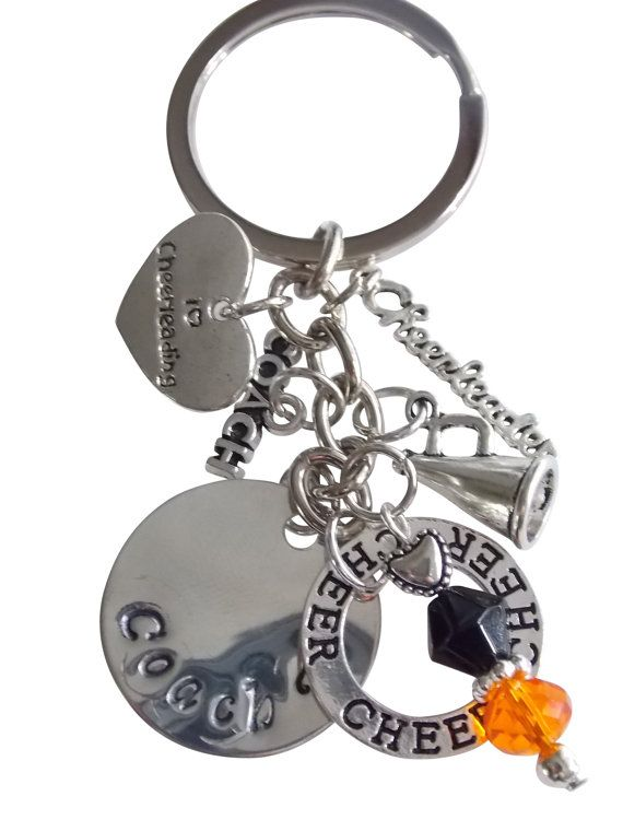 Gifts for Coaches  Key-chain  Cheer gifts  orange and by BloomsyLu