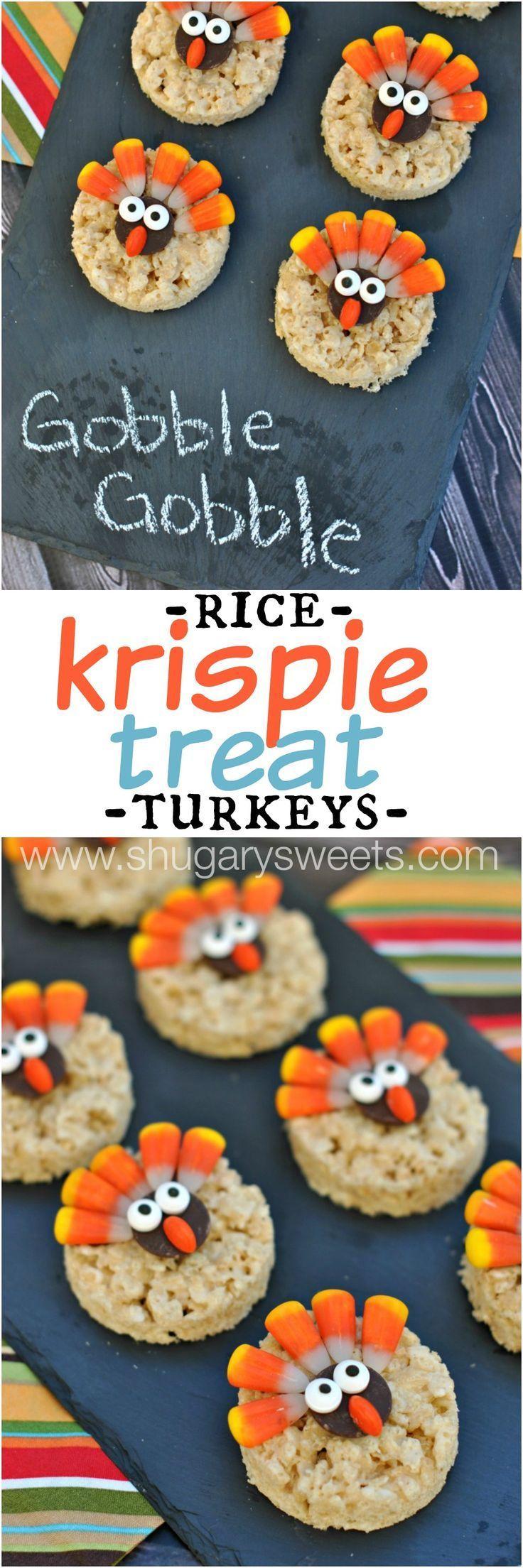 Turkey Rice Krispie Treats decorated for Thanksgiving! Easy dessert that kids can help make!