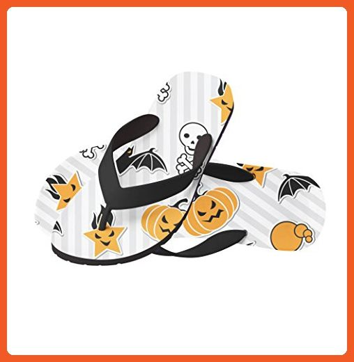 Halloween Pumpkin Bats Beach Flip Flops Large - Sandals for women (*Amazon Partner-Link)