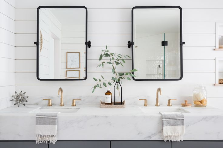 White And Light Wood Bathroom Vanity