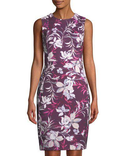 f31a50f5 TXLPY Iconic American Designer Sleeveless Floral-Print Scuba Sheath Dress