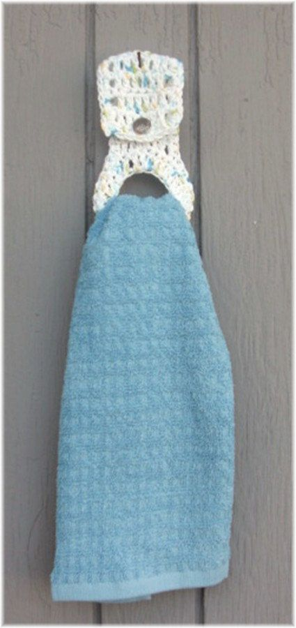 Knitting Patterns Holders For Towels : Kitchen Towel With Crochet Removable Holder Crochet Pinterest Blue, Cou...