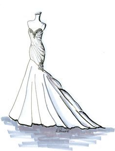 Mermaid Style Wedding Dresses Drawing