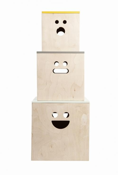 3 stk. Face Plywood boxes