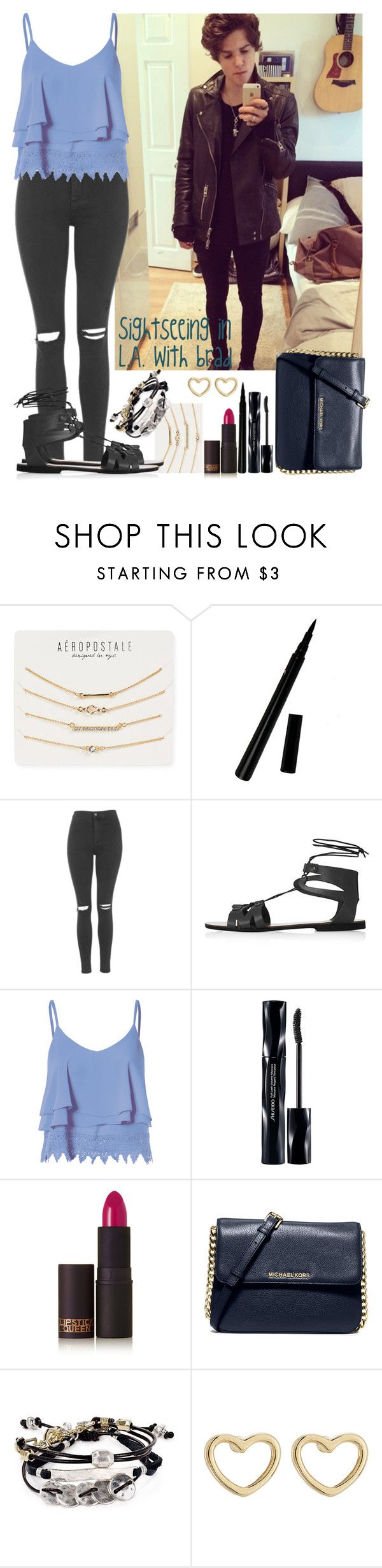 """""""Sightseeing in L.A. with Brad"""" by crazydirectionergirl ❤ liked on Polyvore featuring Aéropostale, Topshop, Glamorous, Shiseido, Lipstick Queen, MICHAEL Michael Kors, Robert Lee Morris and Marc by Marc Jacobs"""