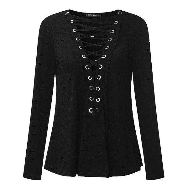 Damen Langarm Shirt mit V Ausschnitt Sexy Schwarz frauen #women #fashion #mode #…