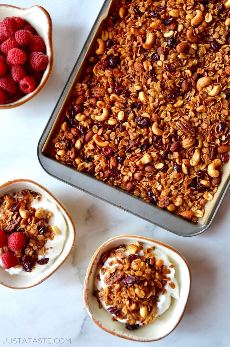 Skip the store-bought snacks in favor of a recipe for healthy easy homemade granola made with oats, mixed nuts and honey.