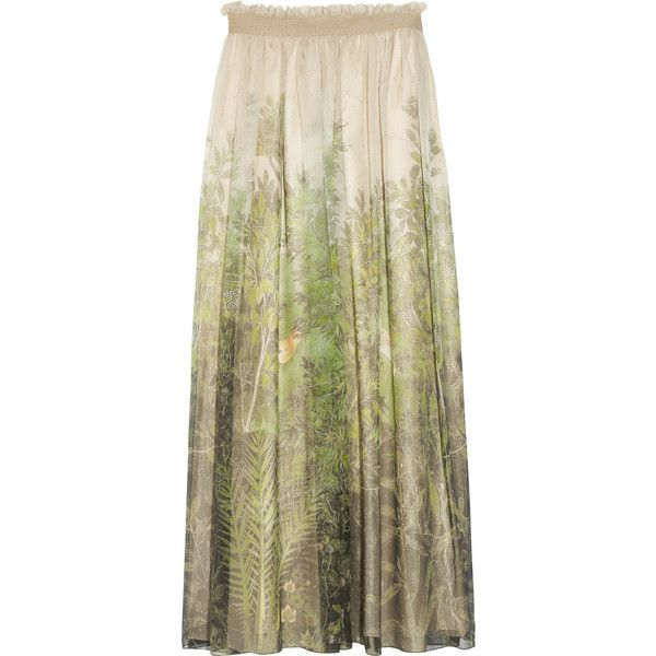 Alberta Ferretti Printed silk-chiffon maxi skirt ($420) ❤ liked on Polyvore featuring skirts, bottoms, maxi skirts, saia, women, maxi skirt, pleated maxi skirt, brown maxi skirt, summer skirts and long evening skirts