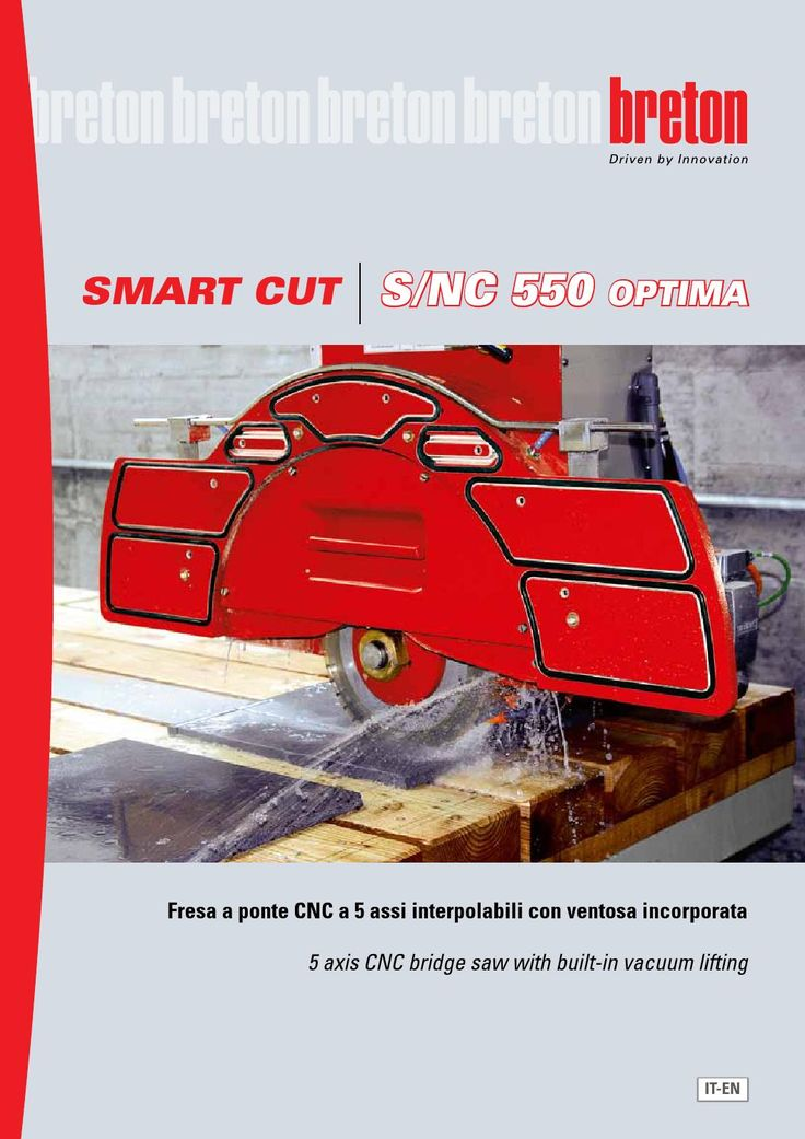 Breton Smart-Cut S/NC550 OPTIMA ITA-ENG  CNC bridge saw with rotating head and fixed work bench
