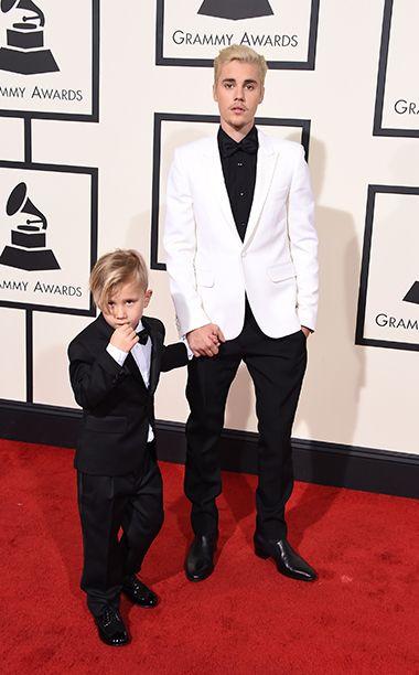 Grammys 2016: Red Carpet Style | Jaxon Bieber and Justin Bieber