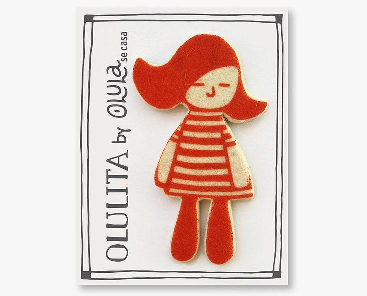 Little Doll OLULITA Felt Brooch by Olula