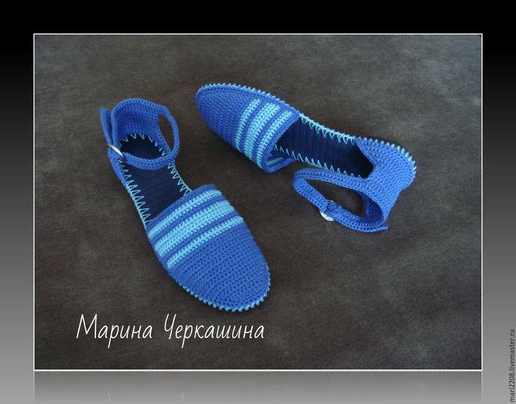 Купить Босоножки. Вязаная обувь. Обувь на заказ. цвет синий, голубой. - синий, Вязание крючком