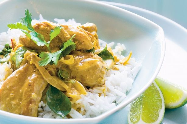 Curried and Coconut Chicken Breast- garlic, onion, parsley, curry, cayenne, coconut milk, olive oil