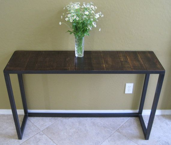 Rustic modern console table sofa display