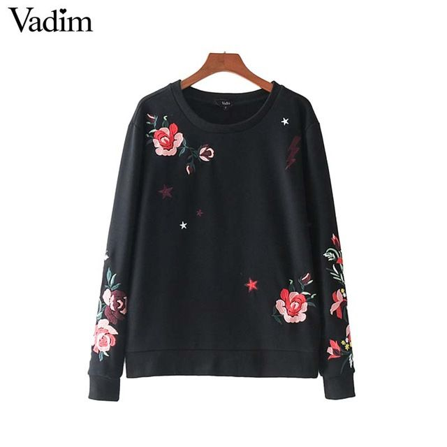 Vadim women floral embroidery casual loose sweatshirt basic long sleeve black pullover lady autumn wear tops sudaderas SW1281 #Brand #vadim #sweaters #women_clothing #stylish_dresses #style #fashion
