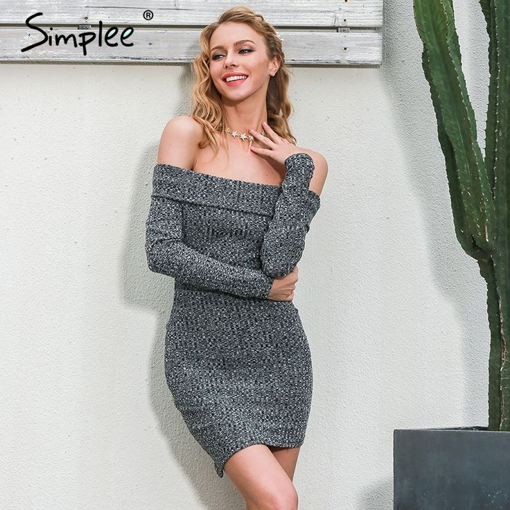 Simplee Off shoulder bodycon women dress Knitted grey sexy dress Long sleeve evening party short dresses 2016