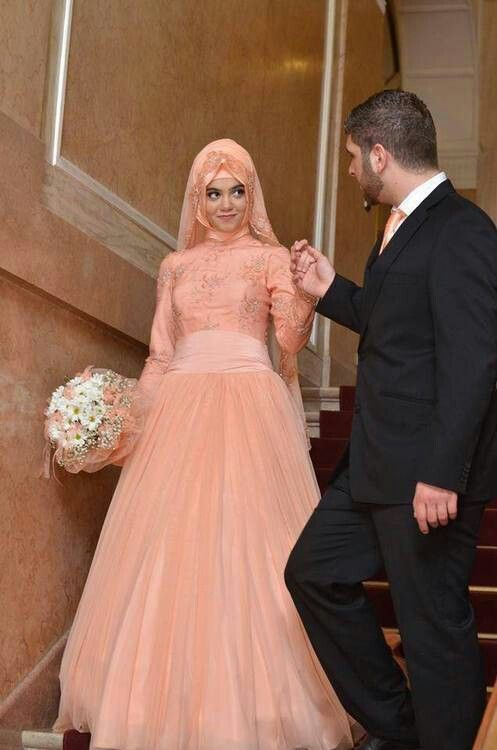 Peach bridal dress