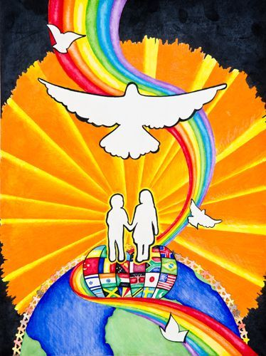 """Lions Club Peace Poster Contest Finalists 2011-12 Merit Award Winner Hannah Going (13) Minnesota, USA """"I believe that trust and love will lead to peace."""""""