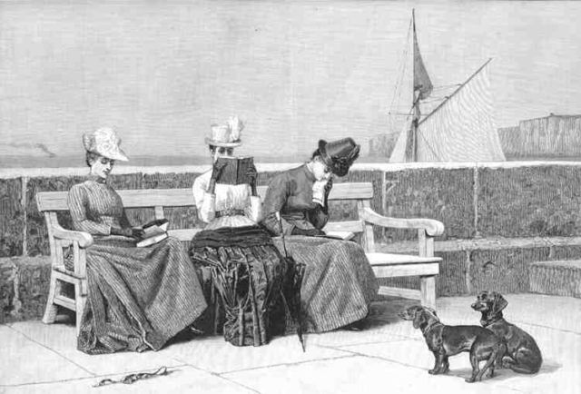 READING 1889: Elegant young ladies reading books. Dogs Dachshunds.Antique Print.