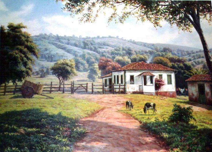 ... Dias Fazenda Mineira 100x150 -Oléo sob Tela 1985: Art, Minas Gerai