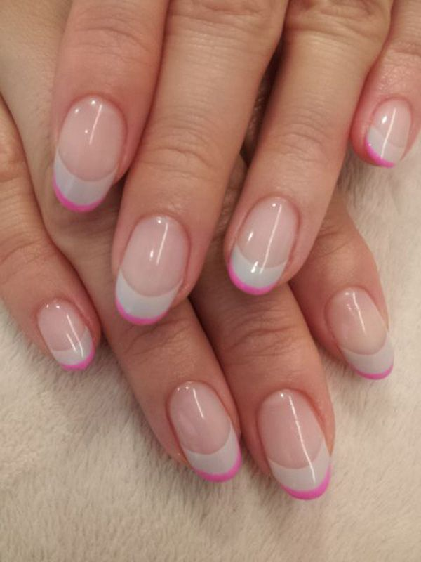 Maybe do with grey base coat, lavender french and then navy thin line