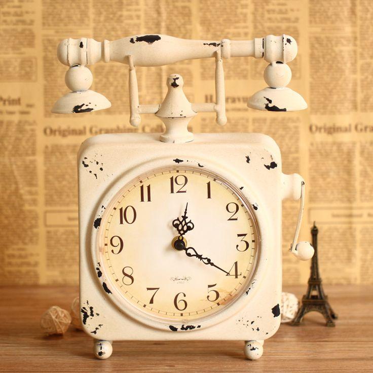 Goedkope europese retro telefoon tafel klok creatief groot leven decoratieve smeedijzeren ornamenten mute, koop Kwaliteit Desk& tafelklokken rechtstreeks van Leveranciers van China: naam: creatieve telefoon bureauklokmateriaal: ijzer + glasgrootte:: 23* 4,5* 30cmwijzerplaat diameter: 15cmpower: een AA