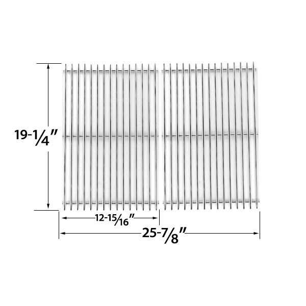 2 PACK HEAVY DUTY REPLACEMENT STAINLESS STEEL COOKING GRATES FOR GLEN CANYON, BRINKMANN, JENN-AIR, KIRKLAND, NEXGRILL, PERFECT GLO, PERMASTEEL AND UBERHAUS GAS GRILL MODELS  Glen Canyon Models: 720-0145-LP, 720-0145-NG  BUY NOW @ http://grillrepairparts.com/shop/grill-parts/heavy-duty-replacement-stainless-steel-cooking-grates-for-brinkmann-glen-canyon-jenn-air-kirkland-nexgrill-perfect-glo-permasteel-and-uberhaus-gas-grill-models-set-of-2/