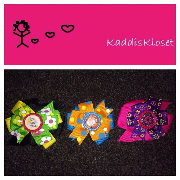 Hand made by Kaddis Kloset 3x groovy hair double and triple layer bows.