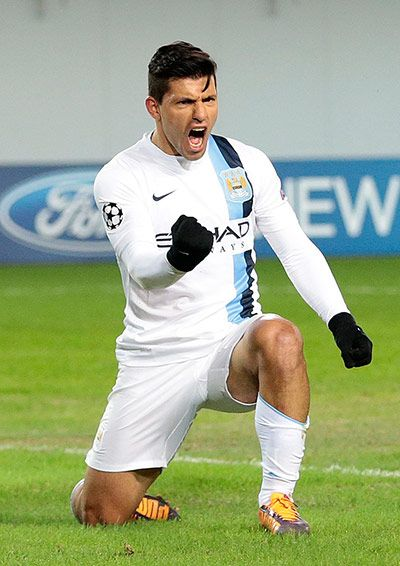 Agüero after scoring his second in Moscow.