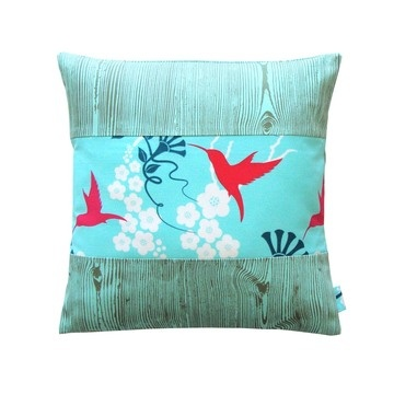 Electric Birds - Mint by Sylvie Pillows