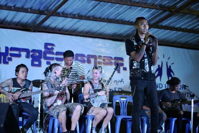 Punk rock in Yangon, Myanmar. Kyaw kyaw, the rebel riot band, burma my buddha is punk, yangon calling, punk subculture volunteering burmese. more at http://www.lacarmina.com/blog/2017/03/yangon-punk-rock-bands-nightlife-burma-punks/  underground punk scene