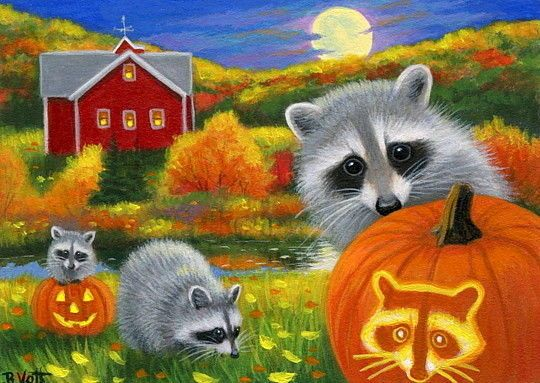 Raccoon Jack O Lantern Pumpkin Farm Fall Halloween Moon